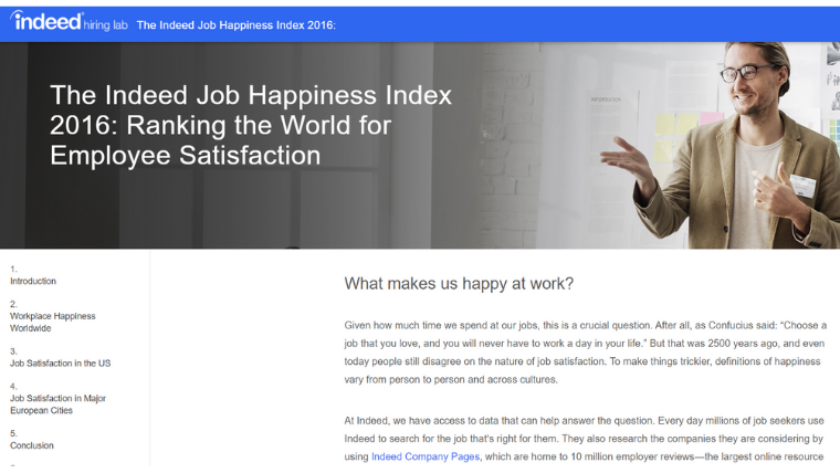 Indeed job happiness index
